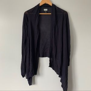 H&M navy blue waterfall front draped cardigan S